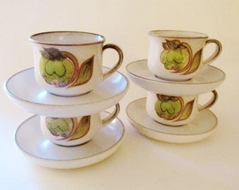 Denby Teacups, Troubadour, English Stoneware Cups and Saucers, 1970's China