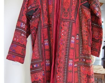 Vintage hand embroidered Red with multi-colored stitching Ethnic jacket fully lined