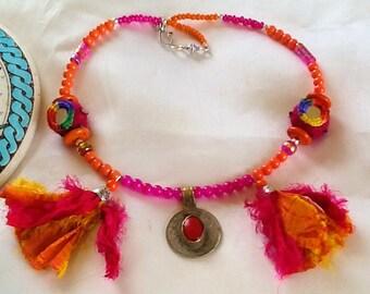 Tribal KUCHI pendant necklace with tassels , ethnic tribal nomad necklace , bohemian gypsy KUCHI necklace , belly dance necklace with KUCHI