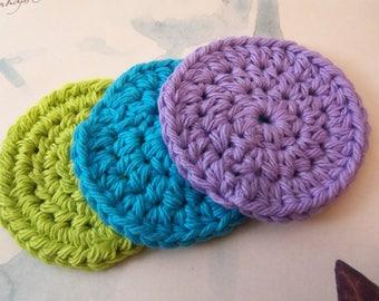 Set of Three Crochet Facial Scrubs. Handmade Facial Scrubs.