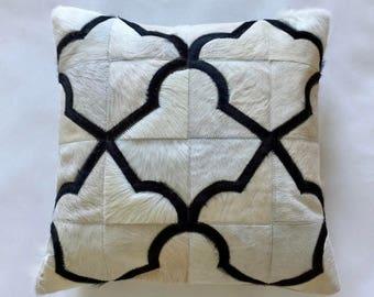 Cowhide Pillow - Black White Patchwork Cushion - 18 x 18 in
