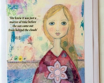 She Knew it Was Just a Matter of Time Before..Sun Came Out From Behind The Clouds-A5 Blank Greetings Card From Original Mixed Media Painting