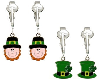 St Patrick's Clip Earrings Set of 2-Hand-painted Lucky Irish Clip On Earrings for Girls, Women w Clover and Leprechauns, Pot of Gold