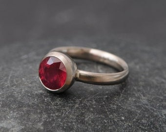 Solitaire Ruby Ring in 18k White Gold - Ruby Engagement Ring in 18k White Gold - White Gold Ruby Ring - Made to Order - FREE SHIPPING