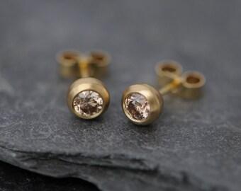 Champagne Diamond Stud Earrings - 18k Gold Diamond Stud Earrings - Champagne Diamond Earrings - Diamond Stud Gold Earrings - READY TO SHIP