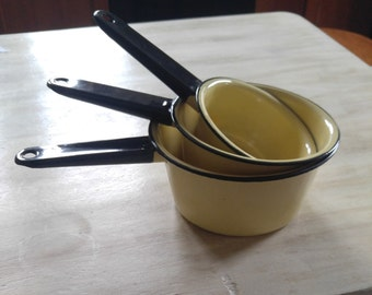 Enamel pots- kitchen pots- Brown enamel pots- Yellow enamel pots- enamel pot set