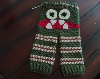Crocheted MONSTER PANTS for Children Green Camouflage