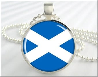 Scotland Flag Pendant, Scottish Flag Necklace, St Andrew's Cross, Blue White, Saltire Pendant, Gift Under 20, Scottish Gift (751RS)