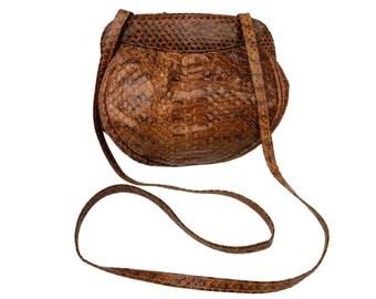 Vintage Snakeskin Purse // Brown Snake Skin Leather Bag with Cross-Body Shoulder Strap, Snap Closure, Suede Lined Interior wih Zip Pocket