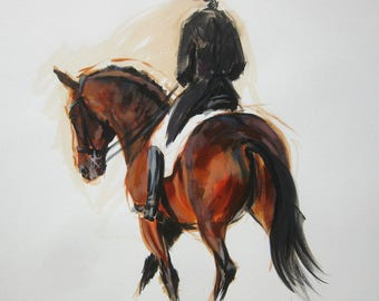 Original energy and movement equine dressage painting mixed media horse movement art drawing 'Bend' by H Irvine
