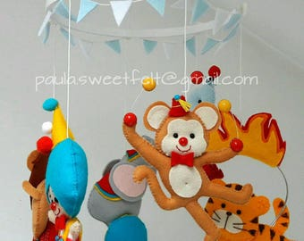 Circus hanging baby mobile / Crib or ceiling circus baby mobile / clown monkey lion tiger elephant sea lion horse