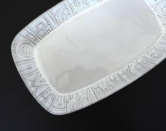 White Frankoma Aztec Pattern Tray