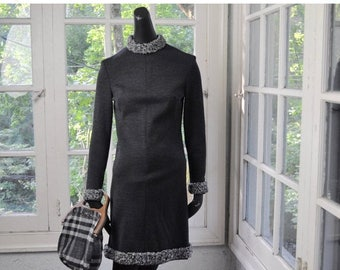 NEW YEARS SALE Shapely Gray Wool Dress/Vintage 1960/Gray Wool Persian Lamb Collar/Size Extra Small