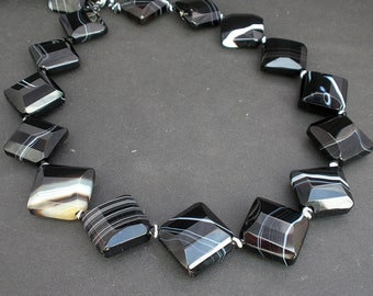 "1 - 4 Strands Natural Banded Black Agate Square Corner Drilled Beads 20mm- Full 15 1/4"" Strand  / Liquidation / Close Out Prices 1-4 Strands"
