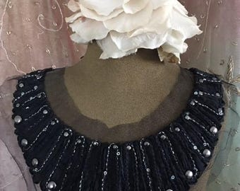 Black Silver Stitched Beaded Appliques