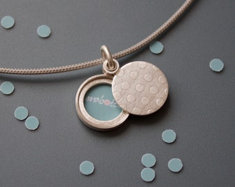 Charming Picture locket sterling silver confetti polka dots