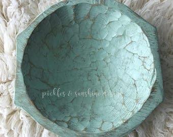 MOSS green Carved wood DEEP posing bowl, Primitive look natural wood dough bowl with handles, newborn posing prop