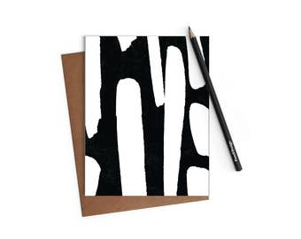 Printable Blank A2 Greeting Card - Abstract Black and White Paint-stroke Card - Instant Download