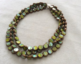 Three strand necklace copper, blue green glass . statement necklace