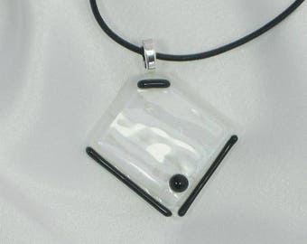 DRESS SHIRT Elegant & Classy Black and White fused glass jewelry pendant.
