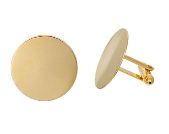 10 Cuff Links - Gold Plated - 25mm Glue Pads - COPPER Material - 25x24mm  - Ships IMMEDIATELY  from California - A547a