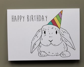 Animal Birthday Card - Rabbit- Hand drawn and printed in the UK