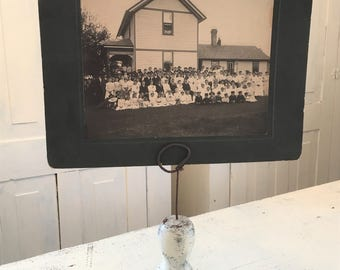 Photo Display Stand Upcycled Recycled Vintage Salvaged Architectural Wood Paper Display Antique Photograph House Family Reunion White Decor