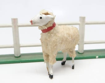 Antique 1930's German 2 1/2 Inch Wooly Sheep, for Putz or Christmas Nativity, Easter