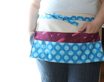 Retreat Apron, Craft Apron, Vendor Apron, Seven Pocket Apron, Blue and Magenta, Luna Sol Fabric and Canvas Apron, Sewing Apron  Crop Apron