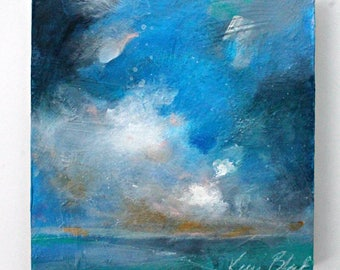"Small Abstract Cloud Painting, Skyscape, Blue, Seascape, Original Acrylic ""Over the Pacific"" 8x8"""