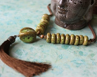 Forest Green Ceramic Beaded Tassel Necklace