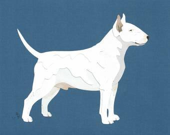 Bull Terrier (White) handmade original cut paper collage dog art