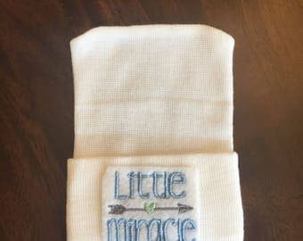 Newborn Hospital Hat for Boys (Little Miracle) (infant beanie, boy beanie, newborn boy hat, miracle,)