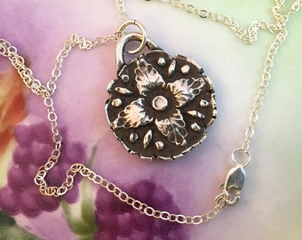 Flower, Art Deco, Necklace, Silver, Antiqued, Handmade