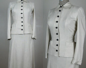 Vintage 1940s Linen Suit 40s Skirt Suit with Black Ball Buttons by Majestic Size 25.5 Waist Small