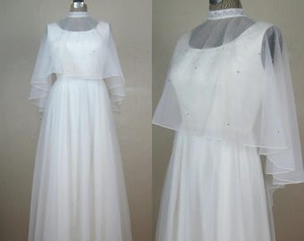 Now On Sale // Vintage 1970s White Chiffon Gown 70s Dress with Rhinestone Neckline and Shawl Size 6/8/M