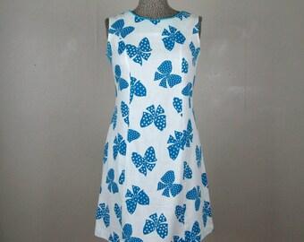 Vintage 1960s Shift Dress 60s Cotton Bow Print Sleeveless Summer Dress Size M