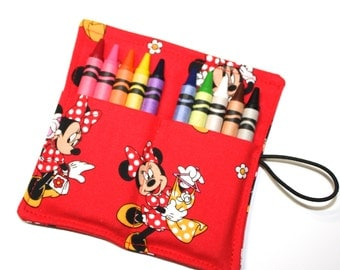 READY TO SHIP! Minnie Mouse Birthday Party Favors Crayon Rolls, made from Minnie Mouse Fabric, wraps,Crayons Holder, Kids Birthday Party