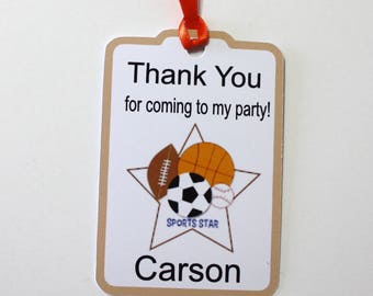 Set of 12 Thank You Party Favor Tags, Sports Star Personalized Birthday Party Favors Tags Thank You Gift Tags, Football Soccer Baseball