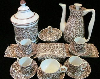 Vintage Midcentury Espresso Demitasse Set Coffee Bean Print 16 Pieces Incl. Carafe, Canister, Sugar Bowl, 5 Cups and Saucers