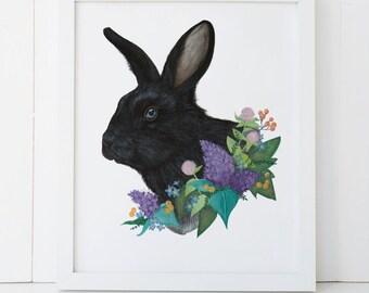 Black Rabbit and Floral Print 8x10, Woodland Art Print Illustration