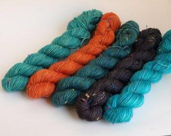 Gradient Set, Hand Dyed Fingering/Sock Knitting Yarn, Superwash Merino Wool, 500 Yards, Koi