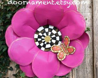 Summer Wreath, Summer Door Hanger, Spring Door Hanger, Screen Wire Door Hanger,  Bright Pink Flower Door Hanger