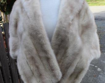 "Stunning Real Fur Natural ""Tourmaline"" Creamy White Mink Cape Stole Bolero"