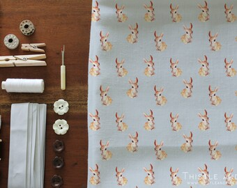 Retro Rabbit Fabric Dove Grey Kawaii Woodland Animal Printed Cotton Fabric by the yard, Choose Color | Ships from USA, Free Ship Worldwide
