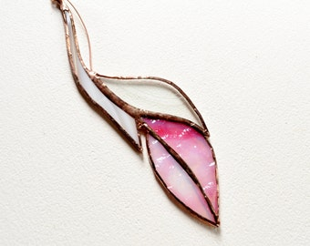 Pink And White Feather Glass Feather Stained Glass Suncatcher