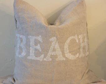 Sale! Now 50% Off! Natural Linen Beach House Pillow with Feather Insert