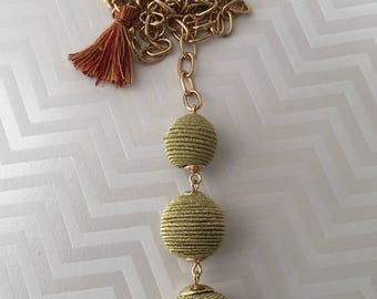 Tassel Babble Ball Necklace Pendant, Boho Jewelry, Tri Ball Necklace, Tassel Necklace