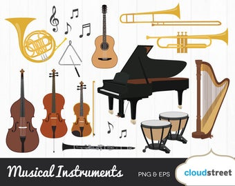 20% OFF musical instruments clipart / musical instrument clip art / music piano violin harp guitar vector / commercial use ok
