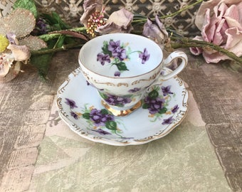 Dainty and Sweet-Little Porcelain Demitasse Cup and Saucer with Purple Violets